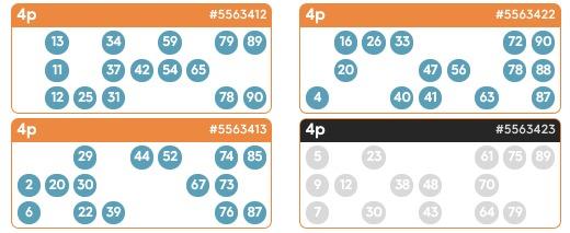 90 Ball Bingo Game Ticket- Bid Bingo