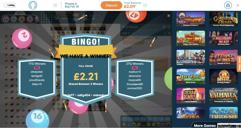 75 ball bingo winner screen - Bid Bingo UK