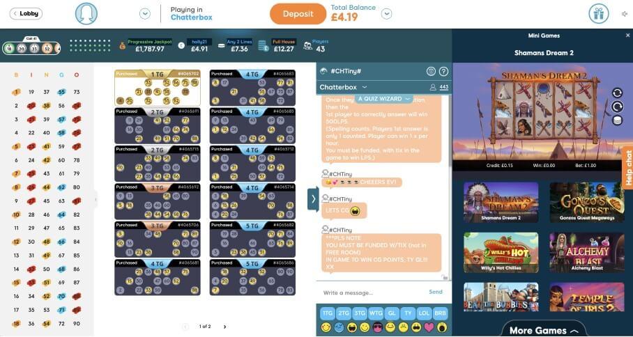90 Ball Bingo Game Lobby - Bid Bingo UK